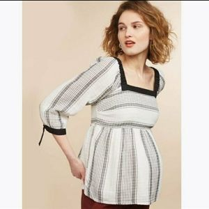Mimi Maternity Baby doll tie sleeve striped blouse